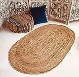 Second Nature Online Alfombra Trenzada Ovalada Dhaka Tejida a Mano con Yute Indio Natural 60cm x 90cm