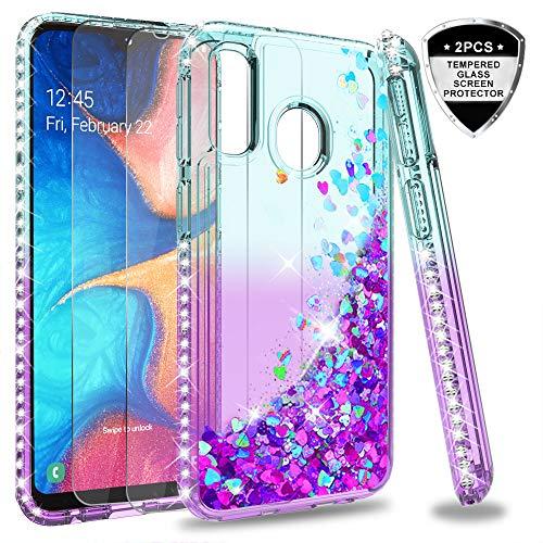 LeYi Hülle Galaxy A20e Glitzer Handyhülle mit Panzerglas Schutzfolie(2 Stück), Diamond Cover Bumper Schutzhülle für Case Samsung Galaxy A20e Handy Hüllen ZX Turquoise Purple