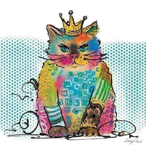 Leinwand-Bild - Lucy Cloud: Cat Diva 20 x 20 cm Katze modern Pop bunt knallig Kult