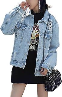 Women's Denim Jacket Women's Denim Jacket Oversize Denim Jacket for Women Ripped Jean Jacket Boyfriend Long Sleeve Coat