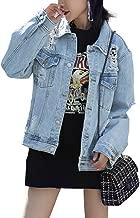 JUDYBRIDAL Oversize Denim Jacket for Women Ripped Jean Jacket Boyfriend Long Sleeve Coat
