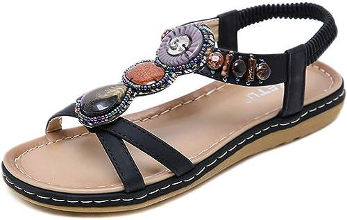 L-X Clip de Perles Mode Douce pour Les Femmes Toe Flats Sandales à Chevrons Bohème, Noir, 40 UE