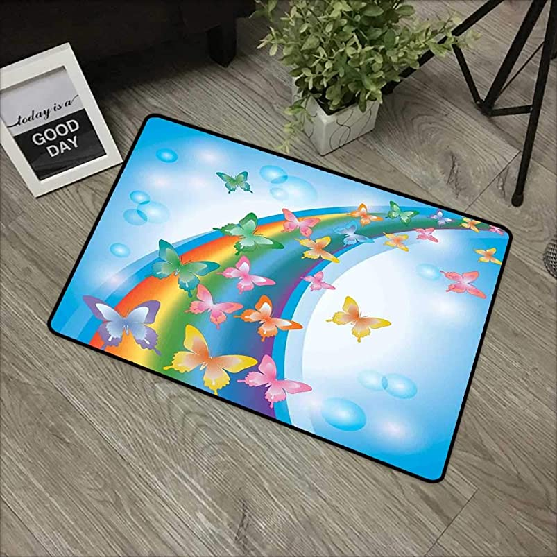 Meeting Room mat W35 x L59 INCH Butterflies,Colorful Background with Rainbow Butterflies Bubbles Fairy Cheerful Graphic Print,Multi Easy to Clean, no Deformation, no Fading Non-Slip Door Mat Carpet hukxxsaa893443