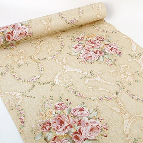 Yifely Vintage Rose Furniture Surface Decor Paper Peel& Stick Shelf Liner Drawer Locker Sticker Beige 17.7 Inch by 9.8 Feet