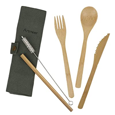 Travel Utensil Sets Flatware Set Serving Bamboo...
