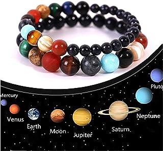 ATIMIGO Solar System Bracelet 7 Chakras Healing Natural Stone Bracelets for Women Men Stress Relief Yoga Beads Elastic Bra...
