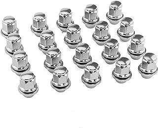 Partschoice 20PCS Wheel Lug Nuts 12x1.5 Silver Chrome, M12x1.5 Closed End Bulge Acorn Spline Lug Nuts 1.4