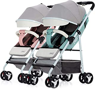 Detachable Twin Baby Stroller, Portable Infant Carriage Can Sit and Lie Down Lightweight Foldable Double Trolley