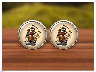 We are Forever Family Ship Gemelos, gemelos pirata, acorazado, regalo de marinero, gemelos de novio, gemelos personalizados