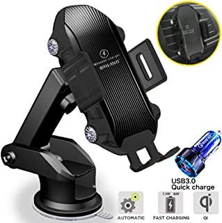 Wireless Car Charger Mount Auto Clamping,10W/7.5W/5W Qi Fast Auto-Clamping Brilens Wireless Car Charger with Strong Suction Smart Touch Sensing Air Vent Windshield Dashboard Phone Holder (Black)