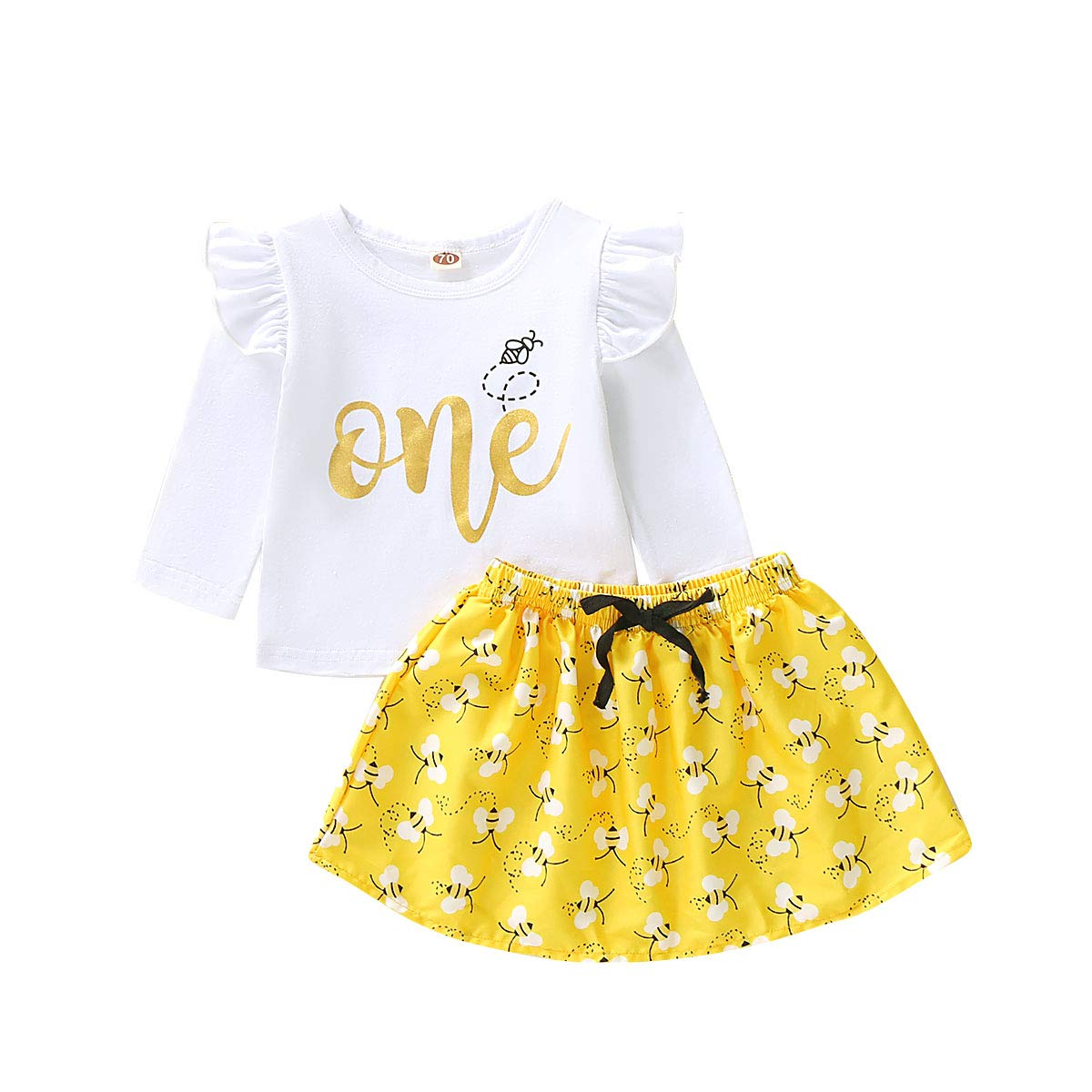 Newborn Infant Baby Clothes Girl 1st Birthday Tops One Bee Tutu Skirt Princess Party Dress Outfit