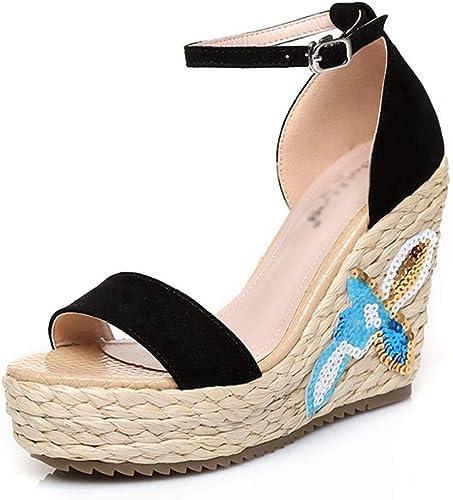 Sandale compensée Talons Hauts Femme Fuite Fuite Sandales Toe Plateforme Imperméable Mode Sandales De Bonne Qualité, Debout Pas Fatigué (Couleur   noir, Taille   38 US7.5)  préférentiel