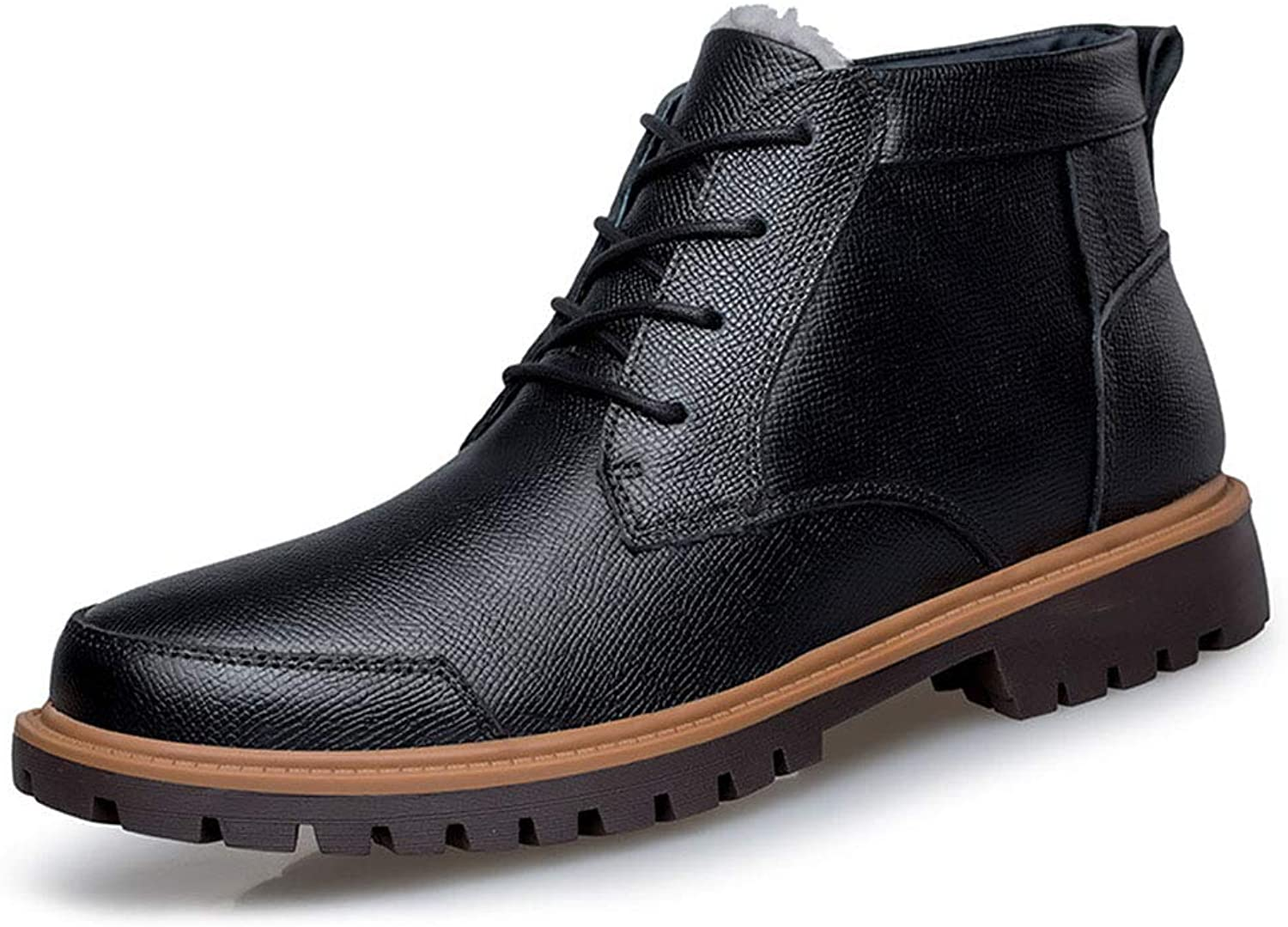 Men's Leather shoes Winter Business Leather Boots High-Top Plus Velvet Keep Warm Lace-Up shoes,A,39