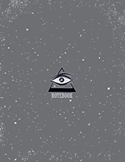 Notebook: All seeing eye on dark grey cover and Lined pages, Extra large (8.5 x 11) inches, 110 pages, White paper