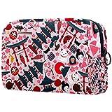 Bolsa de cosméticos japonesa con patrón sin costuras, ilustración vectorial para mujer, adorable bolsa de maquillaje espaciosa bolsa de viaje impermeable