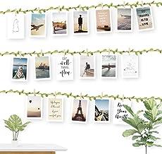 ecooe Fototouw met groen blad voor creatieve en mooie decoratie DIY fotolijst wanddecoratie 3 meter fotolijn met 30 mini h...