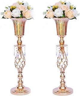 LANLONG 2 stks Tall Metalen Bruiloft Centerpieces voor Receptie Tafels, Gouden Bloem Vaas Stand, Base Decoratie voor Fees...