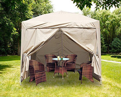 Greenbay Premium Beige Pop-up Gazebo with Silver Protective Layer + 4 Leg Weight Bags + Carrying Bag 2.5x2.5M