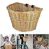 Wovatech Cesta para Bicicletas - Cesta de Mimbre Vintage para Bicicletas - Cesta portátil para Verduras en Forma de D para Bicicletas de montaña - Cesta Delantera para Bicicletas con Correas de Cuero
