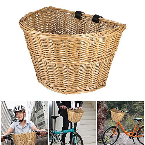 Verdelife Wicker Cycling Baskets Traditional Bicycle Front Basket with Leather Straps