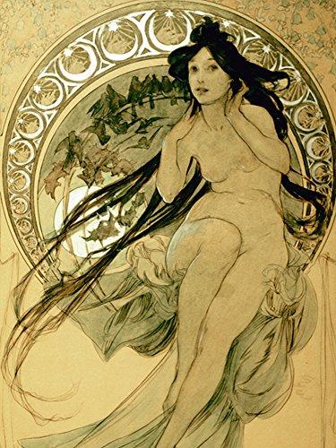 Artland Alte Meister Premium Wandbild Alfons Mucha Bilder Poster 60 x 45 cm Die Musik 1898 Kunstdruck Wandposter Art Nouveau & Jugendstil B5ZV