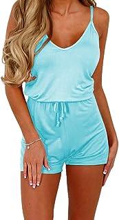Dreamskull Women Summer Casual Spaghetti Strap Adjustable Waist Drawstring Short Jumpsuit Cami Romper for Girl