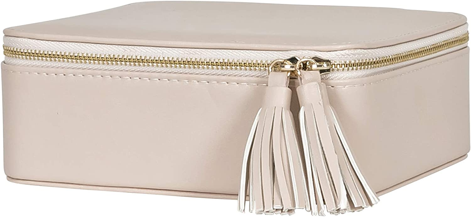 Mele & Co. Shiloh Travel Jewelry Case in Tan Faux Leather