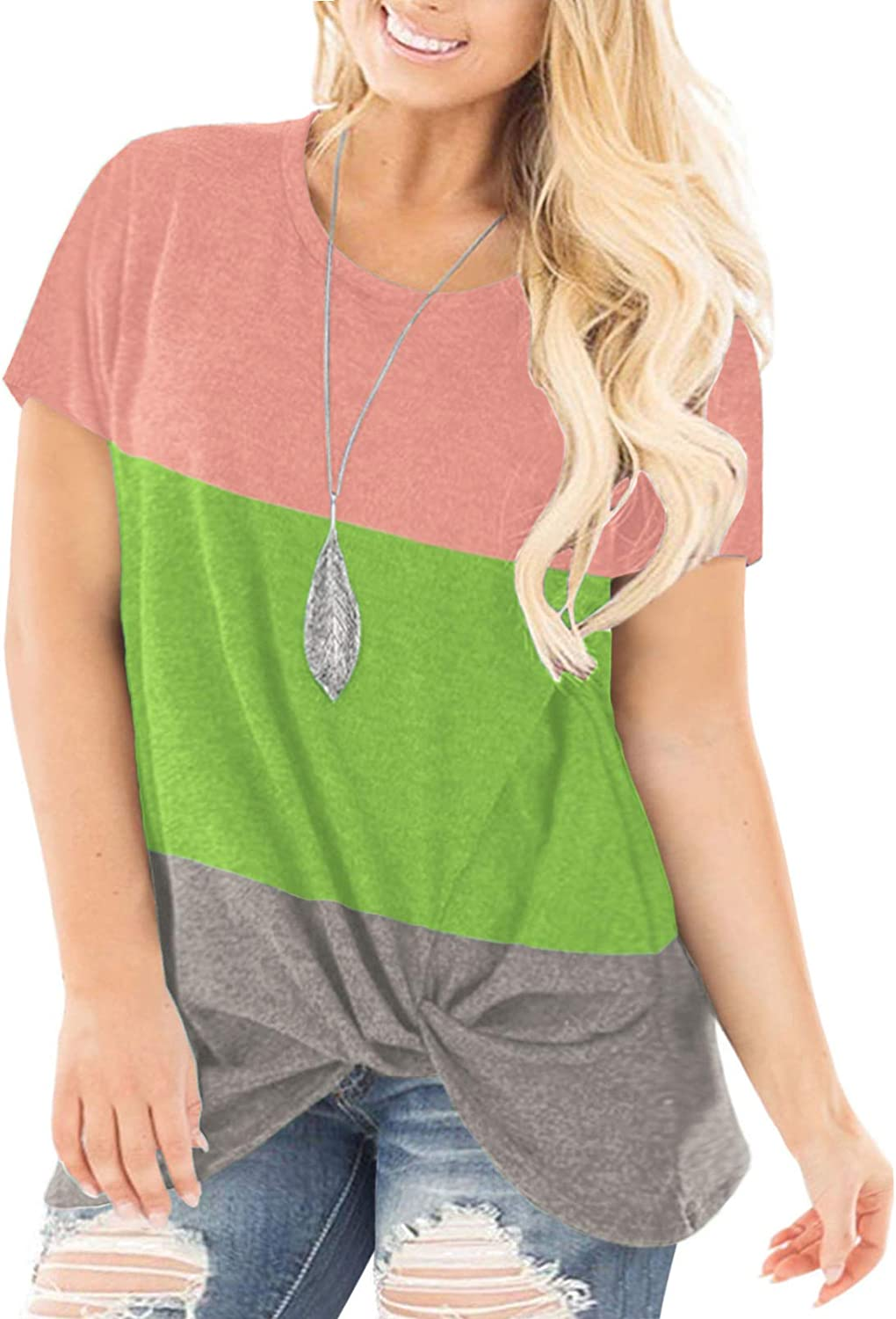 AURISSY Plus-Size Tops for Women Summer Short Sleeve Shirts Knotted Tunics
