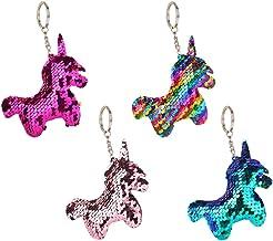 Toyvian Sequins Unicorn Keychain Pendant Shiny Unicorn Keyring Bag Pendant Gifts 4 Pieces