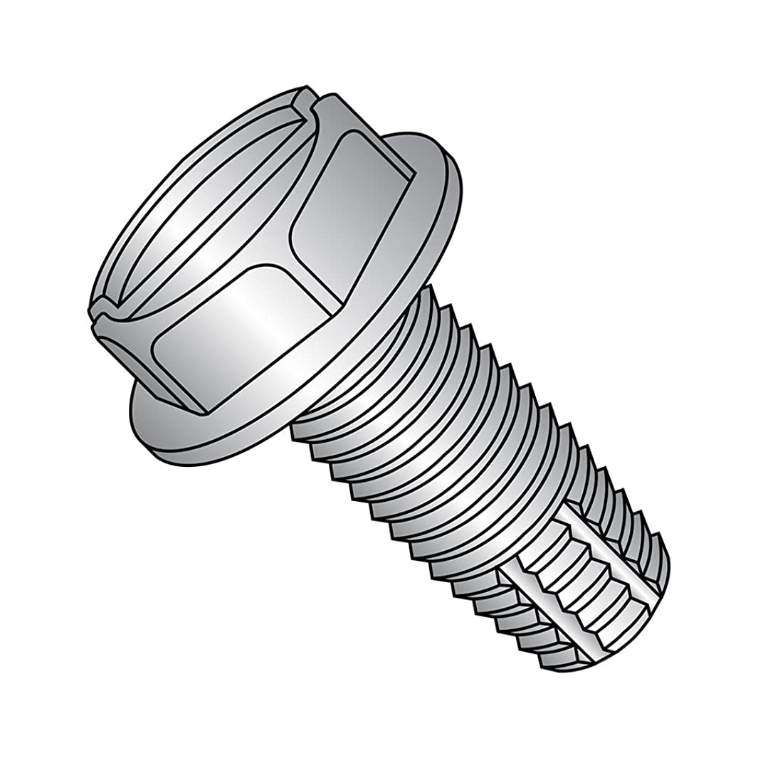 18-8 Stainless Steel Thread Cutting Screw, Plain Finish, Hex Washer Head, Slotted Drive, Type F, #12-24 Thread Size, 1