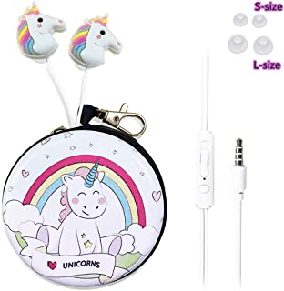 QearFun in Ear 3D Cute Cartoon Animal Unicorn Horse Headphones with Mic with Earphone Case Hands-Free for Apple,Samsung,Android Smartphones Mp3 (Rainbow Unicorn)