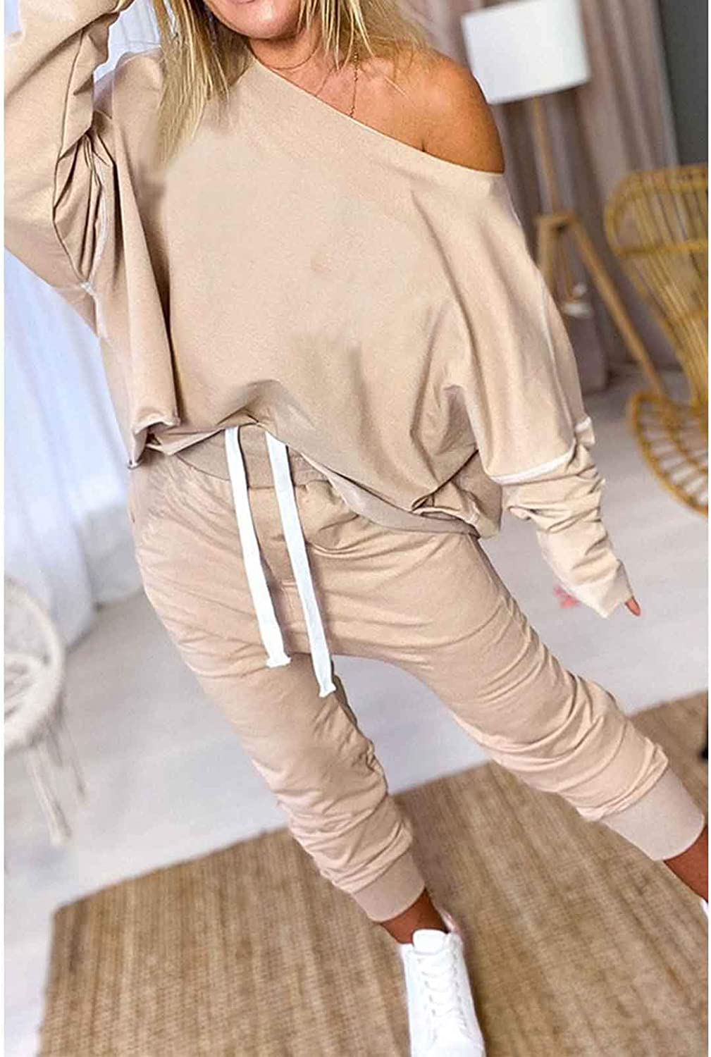 Womens Two Piece Boat Neck Long Sleeve High Waist Sweatsuits Pullover Shirts and Drawstring Sweatpants Set