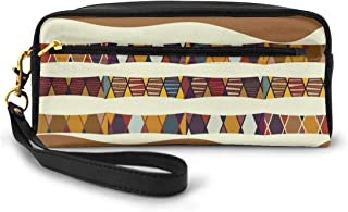 Pencil Case Pen Bag Pouch Stationary,Traditional African Folk With Cultural Featured Trippy Icons Boho Abstract Design,Small Makeup Bag Coin Purse