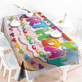 Creative Rectangle Tablecloth Kids Birthday Cartoon Style Happy Birthday Party Image Cake Candles Hearts Design Print Buffet Table,Parties,Picnic,Patio,Kitchen,Dining,Family Room Multicolor 59x78