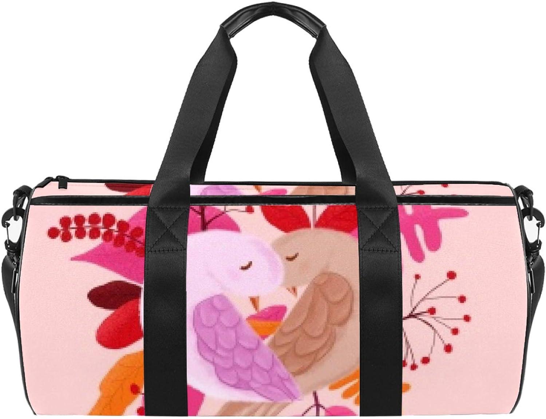 Birds Hug Each Other Sports Gym Cylindrical Duffel Daily bargain sale Travel ba Bag 100% quality warranty!