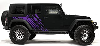 Factory Crafts Splash Side Graphics Kit Vinyl Decal Wrap Compatible with Jeep Wrangler 4-Door 2007-2016 - Purple