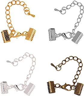 Tiparts 32 Pcs Flat Leather Crimp Ends,Ribbon Clamp Ends,Ribbon Clasps for Jewelry Making Findings (10mm)
