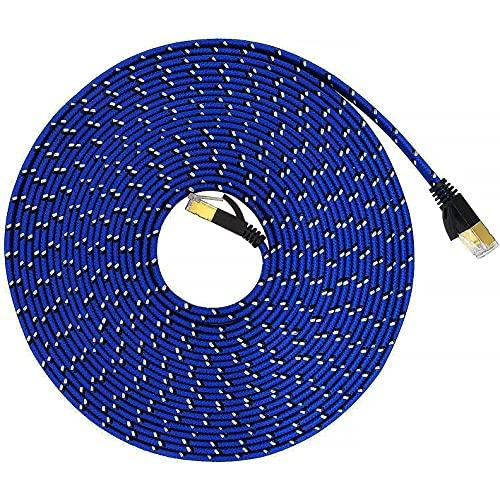 Cat 7 Cable Ethernet 5M, LSYTASG Cat7 Cable Trenzado Plano de Alta Velocidad 10Gbps 600Mhz/s Gigabit RJ45 S/STP Red de Internet Blindada Cable de Conexión Lan para,Módem,Enrutador,Computadora,PC