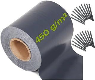 workingHOUSE Vallas para Jardin, Cercado Ocultacion de PVC de Primera Calidad de 35m x 19 cm 450gsm de Grosor, Incluye 20 Tiras de Sujeción (Gris Oscuro)