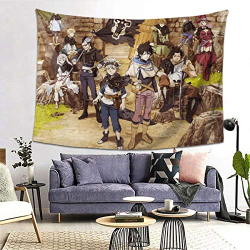 Black Clover Tapestry Black Bull Asta Zore Gauche Novelty Wall Hanging Home Decor Tablecloth Blanket Picnic Beach Mat Carpet Sofa Cover Poster 60*51 inch