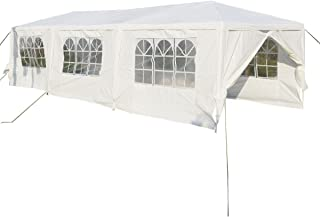 Patiojoy 10'x30' Outdoor Canopy Tent Heavy Duty Steel Frame with 6 Removable Sidewalls Waterproof Sun Snow Rain Shelter Canopy BBQ Party Wedding Event Tent Outdoor Gazebo, White