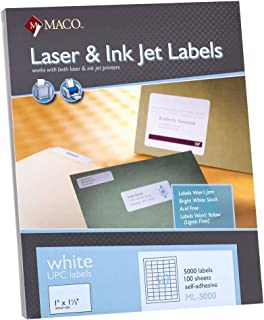 MACO Laser/Ink Jet White UPC Labels, 1 x 1-1/2 Inches, 50 Per Sheet, 5000 Per Box (ML-5000)