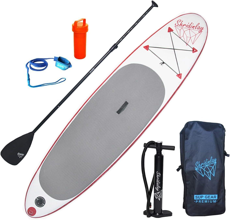 Shridinlay SUP Stand Up Paddle Board 305 × 71 × 12 cm con pala ajustable, aleta, correa, bomba de mano, mochila y kit de reparación