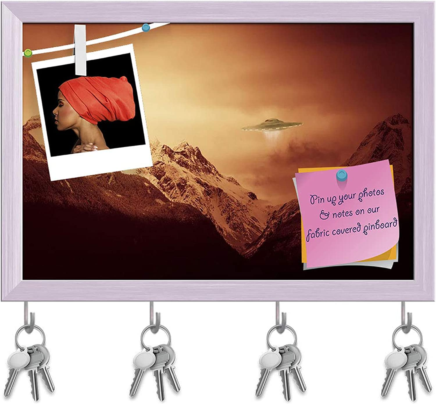 Artzfolio UFO Hovering Over Snow Covered Mountains Key Holder Hooks   Notice Pin Board   White Frame 14.7 X 10Inch
