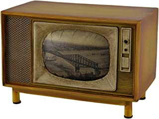 Zeckos Brown Vintage Finish Retro Console Television Coin Bank