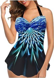 7 Women's Plus Size Swimsuits Tummy Control 2 Piece Beachwear Dresses Suit Adjustable Shoulder Straps EAZsyn8
