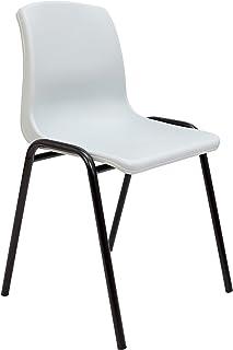 Silla confidente ergonómica, apilable y con estructura negra Asiento y respaldo de PVC de color gris PIQUERAS Y CRESPO Modelo Alborea