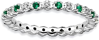 2.25mm Stackable Created Emerald & .04 Ctw HI/I3 Diamond Silver Band