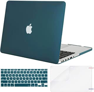 MOSISO Case Only Compatible with Older Version MacBook Pro Retina 13 inch (Models: A1502 & A1425) (Release 2015 - end 2012), Plastic Hard Shell & Keyboard Cover & Screen Protector, Deep Teal