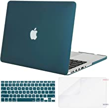 MOSISO Case Only Compatible with Older Version MacBook Pro 15 inch Model A1398 with Retina Display (2015 - end 2012 Release), Plastic Hard Shell & Keyboard Cover & Screen Protector, Deep Teal